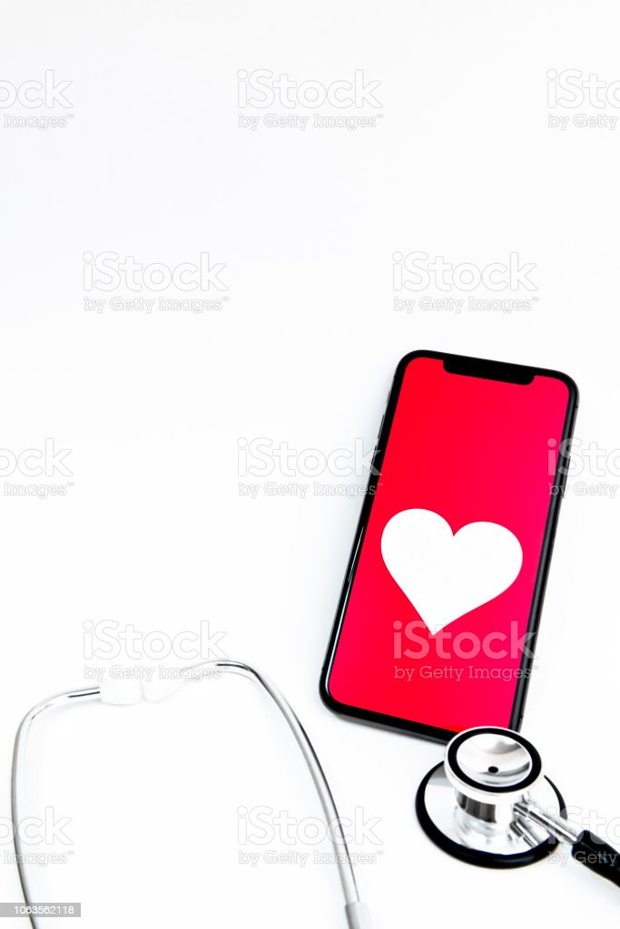 Mobile health care services by smart phone stock photo
