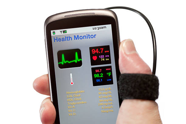 Mobile Health Monitor A healthcare application performing real-time health monitoring, running on a smartphone. theasis stock pictures, royalty-free photos & images