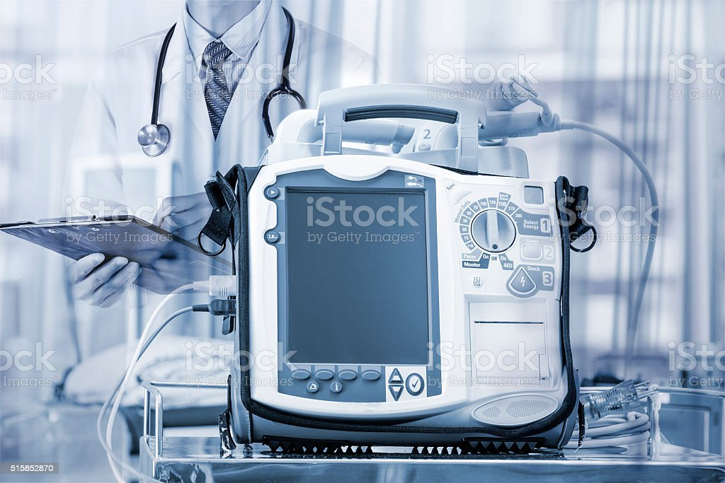 Mobile Heart Defibrillator unit with doctor- emergency high technology stock photo