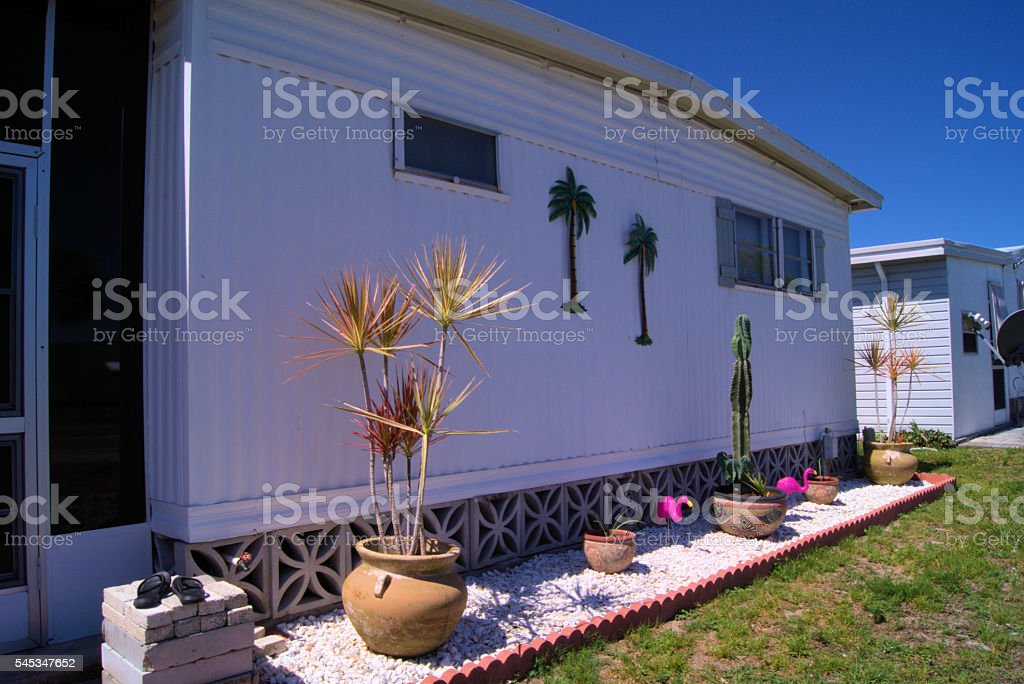 Mobile home backyard in Fort Myers, Florida, USA. Landscaping...
