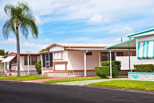 Mobile Home Park Mobile home park; trailer park; static caravan park with palm tree. trailer park stock pictures, royalty-free photos & images