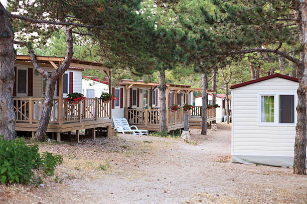 Mobile homes, Croatia Living in mobile homes has become a favorite way of spending holiday-time in Croatia. Small, compact, but comfortable. manufactured housing stock pictures, royalty-free photos & images