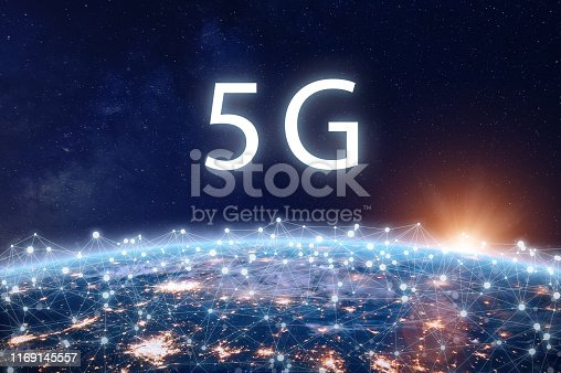 5G mobile internet telecommunication network with high speed wireless data connection technology for smartphones and IoT. Fifth generation system deployment concept with Earth viewed from space. Some elements from NASA (https://eoimages.gsfc.nasa.gov/images/imagerecords/57000/57752/land_shallow_topo_2048.jpg)
