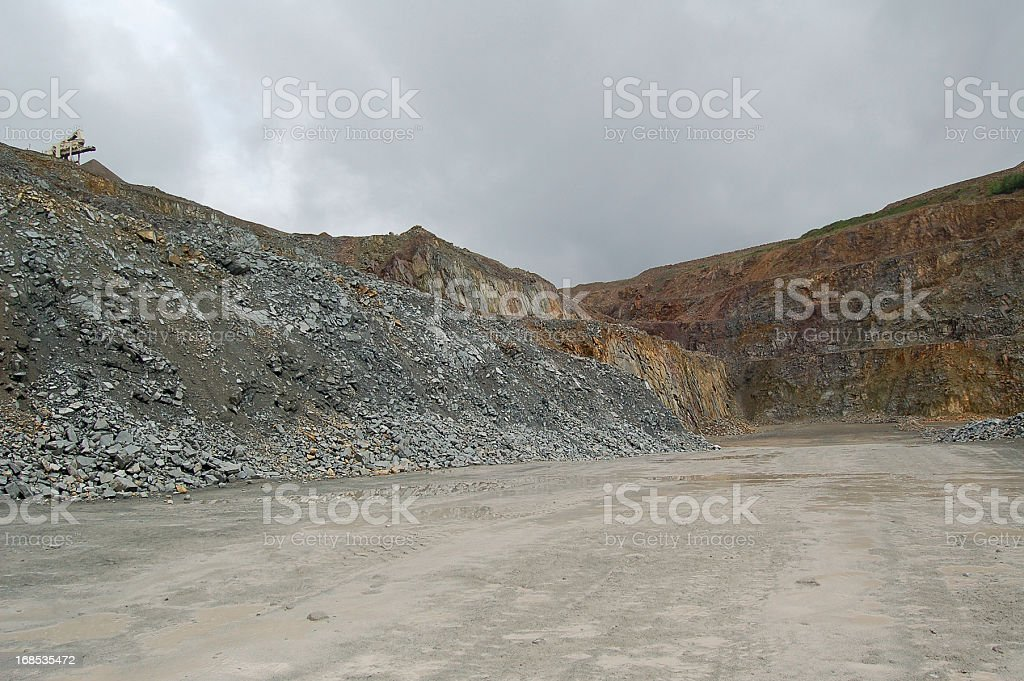 mobile jaw plant in Open-pit Mine royalty-free stock photo