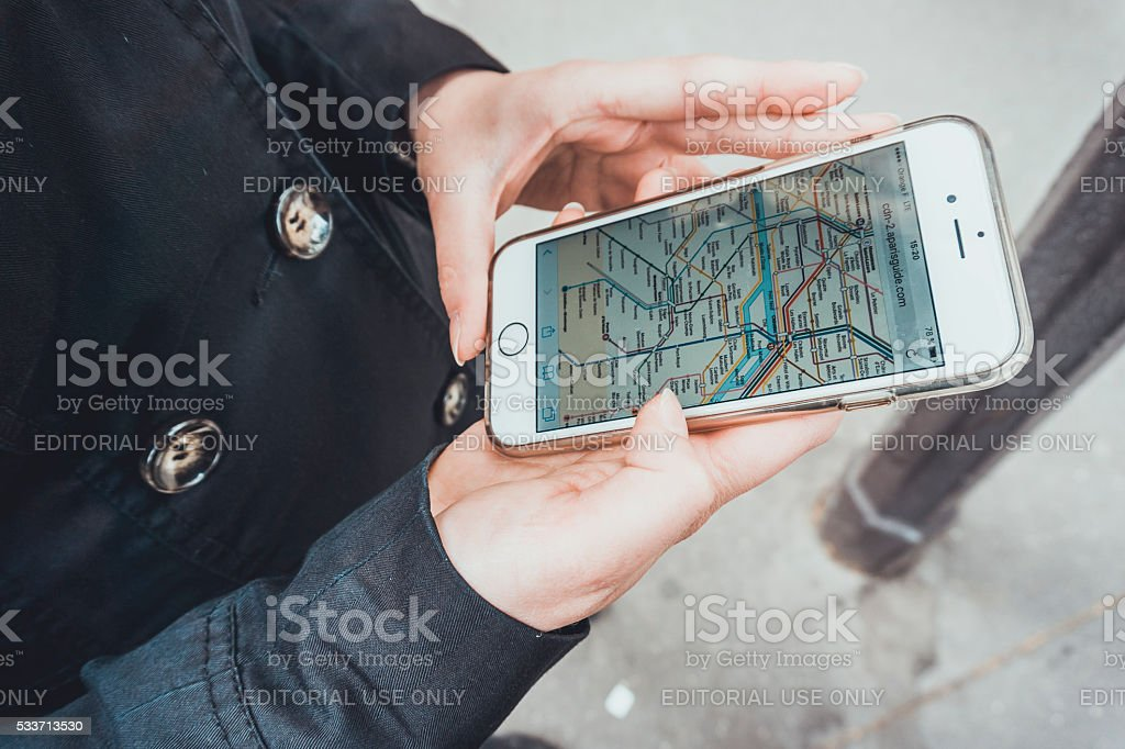 mobile maps on smartphone stock photo