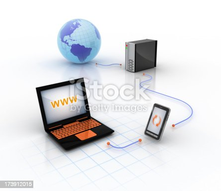 using mobile phone as a modem, or sync mobile and PC with each other or with a server, also can be used for backup concepts.. HQ 3D render