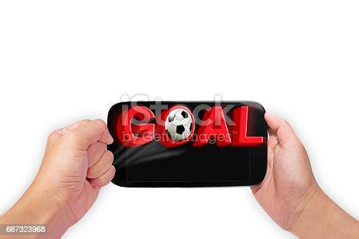 843298172 istock photo mobile , Motion of GOAL Soccer Football Match 667323968