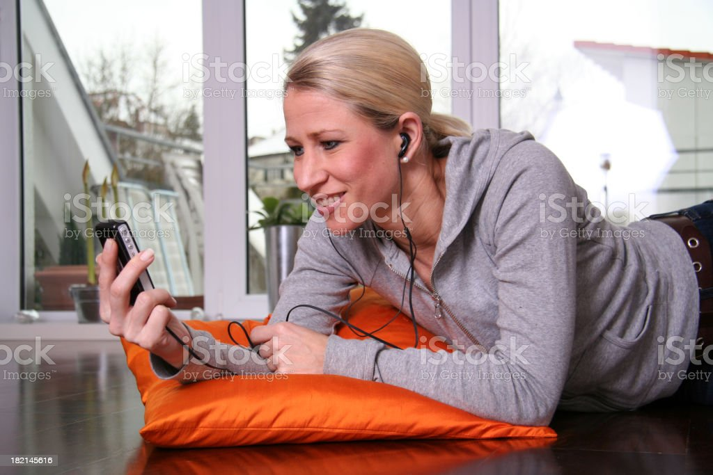 Mobile music at home royalty-free stock photo