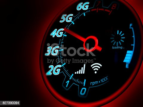 istock Mobile network and internet on speed indicator 827390094