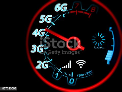 istock Mobile network and internet on speed indicator 827390096