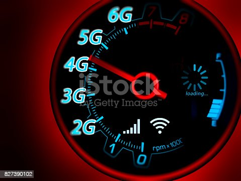 istock Mobile network and internet on speed indicator 827390102