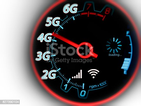 istock Mobile network and internet on speed indicator 827390104