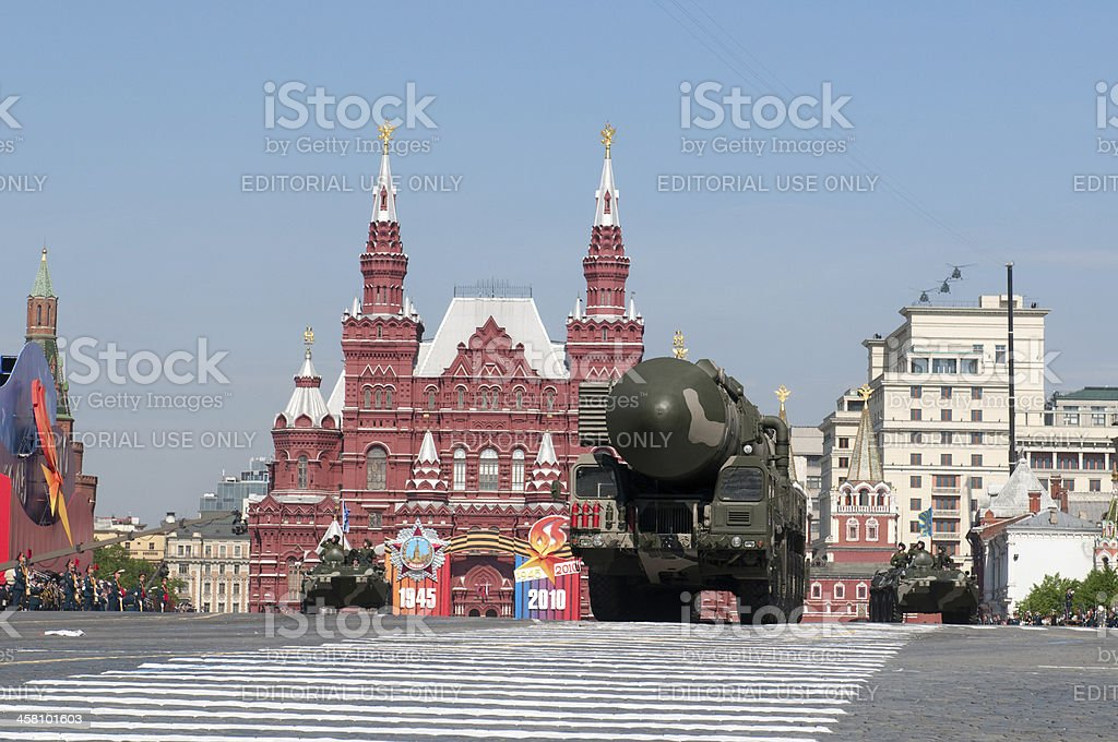 Mobile nuclear intercontinental ballistic missile «Topol-M» on Red Square stock photo