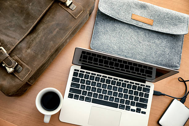 mobile office on a table - external hard disk drive stock photos and pictures