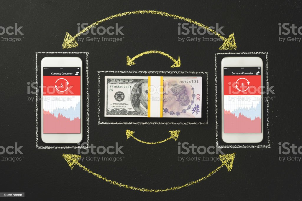 Mobile Online Currency Exchange Dollar To Argentine Peso Stock Photo