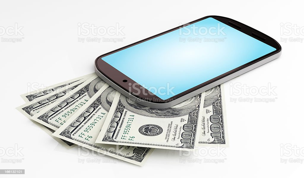 Mobile payment Mobile payment concept. Dollars under smart phone. 3d render illustration. Banking Stock Photo