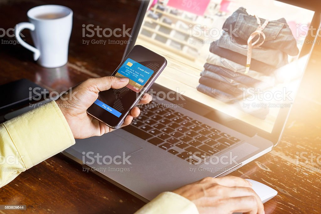 Mobile payments, Man using smartphone  shopping online stock photo