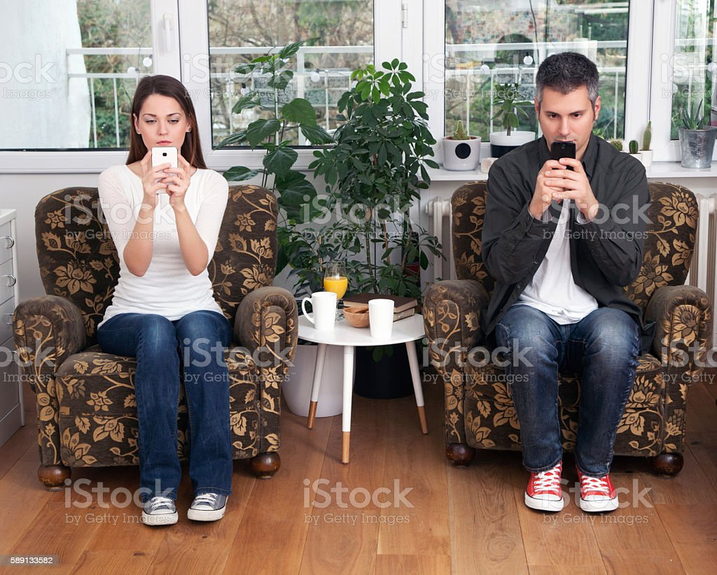 Mobile phone addiction stock photo
