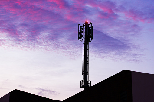 Cellphone tower thrusts upward over factory rooftops into the new day.