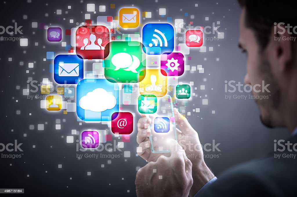 mobile phone and icons stock photo