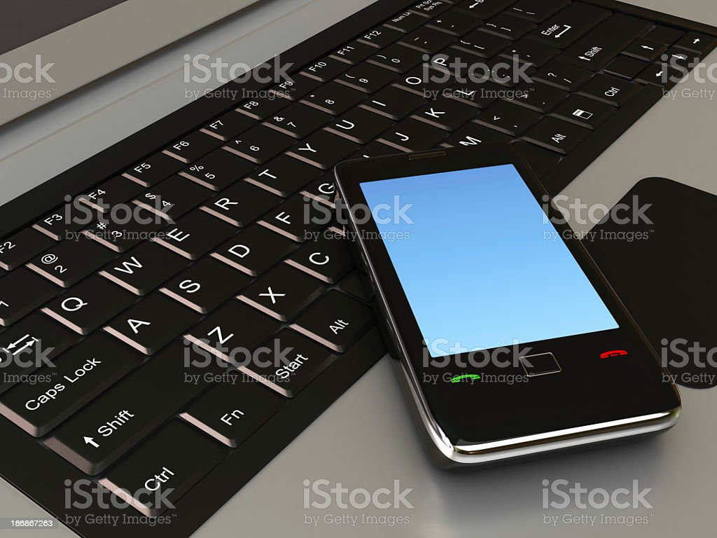 Mobile Phone and Laptop royalty-free stock photo