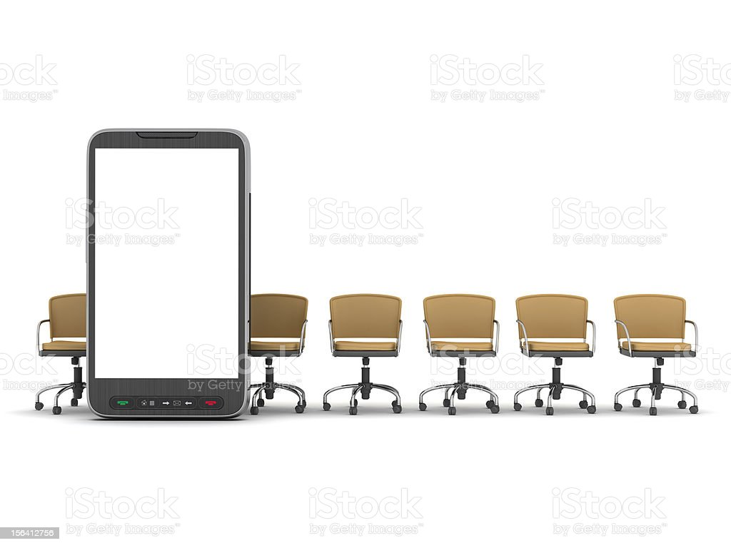 Mobile phone and office chairs isolated on white royalty-free stock photo