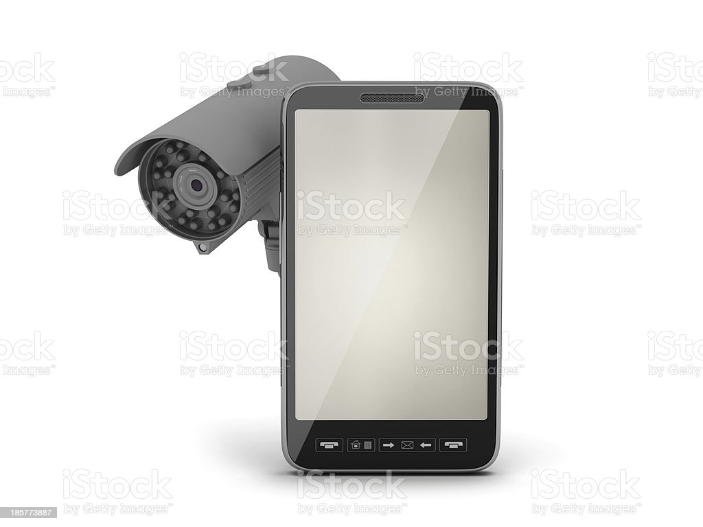 Mobile phone and video surveillance camera royalty-free stock photo