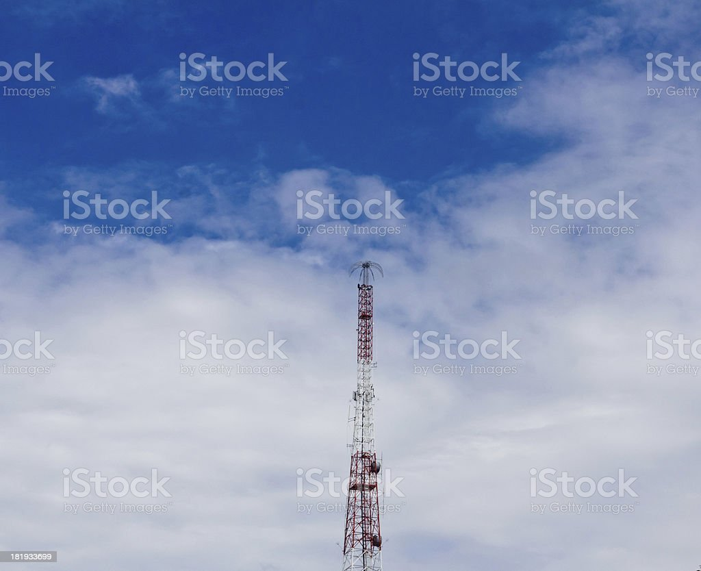 Mobile phone antenna Tower with blue sky royalty-free stock photo