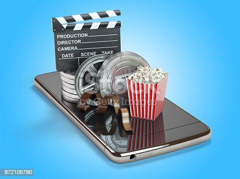 istock Mobile phone application for creating, seeing end editing video files and buying cinema tickets online. Smartphone with film reels, pop corn and clapperboard. 972105790