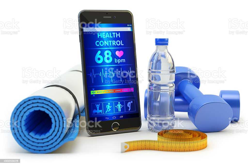 Mobile phone application for health monitoring after sport activity stock photo