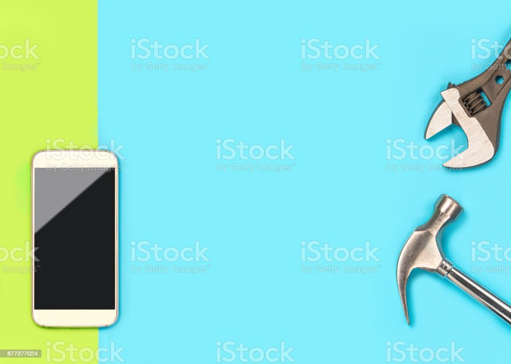 Mobile Phone Background Banner With A Lot Of Free Blank Copy Space For Text And Content For Smartphone Repair Company Cellphone And Tools On Fun And Colorful Vibrant Light Green And Blue
