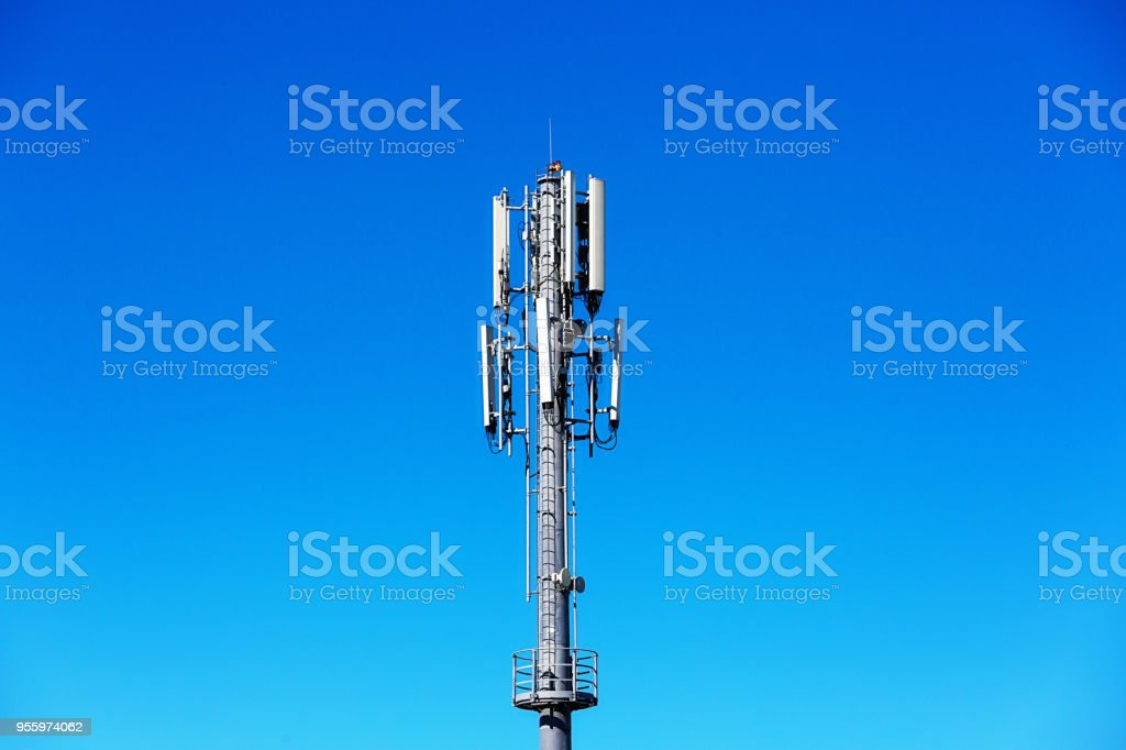 Mobile Phone Base Station Antenna On A Fine Summer Day Stock