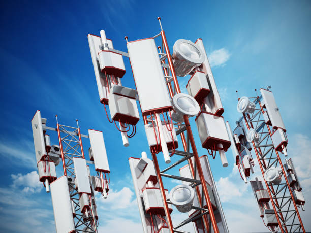 Mobile phone base station towers Mobile phone base station towers with electronic equipments. antenna aerial stock pictures, royalty-free photos & images