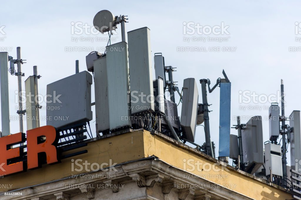 GSM mobile phone  base stations at top of the apartment in kadikoy istanbul turkey stock photo