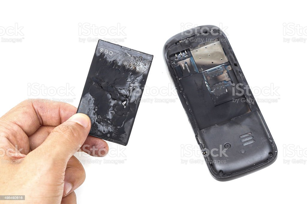 mobile phone battery explodes bildbanksfoto