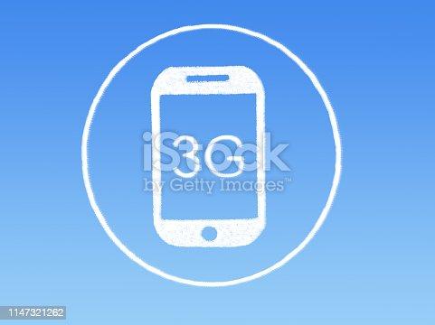 3G mobile phone cloud shape on blue sky