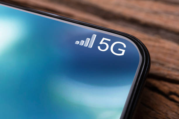 Mobile Phone Connected To 5G Network stock photo