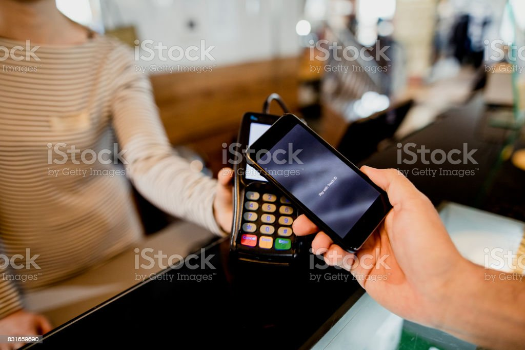Mobile Phone Contactless Payment stock photo