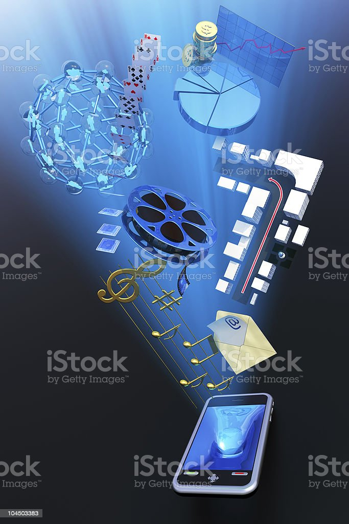 Mobile phone content stock photo