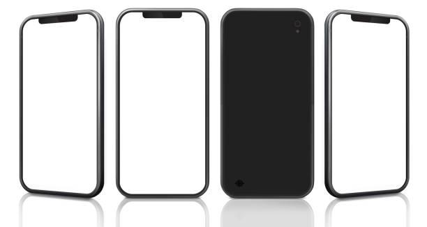 teléfono móvil desde diferentes ángulos y vista posterior. - perspectiva fotografías e imágenes de stock