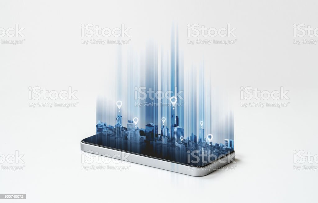 Mobile phone GPS global positioning system navigation technology stock photo