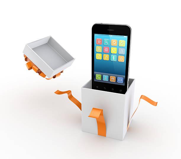 handy in einer geschenkverpackung. - iphone gratis stock-fotos und bilder