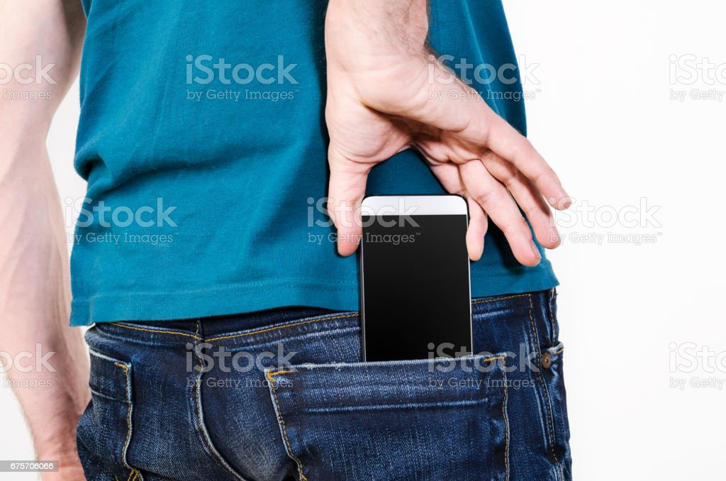 手機在口袋裡 免版稅 stock photo