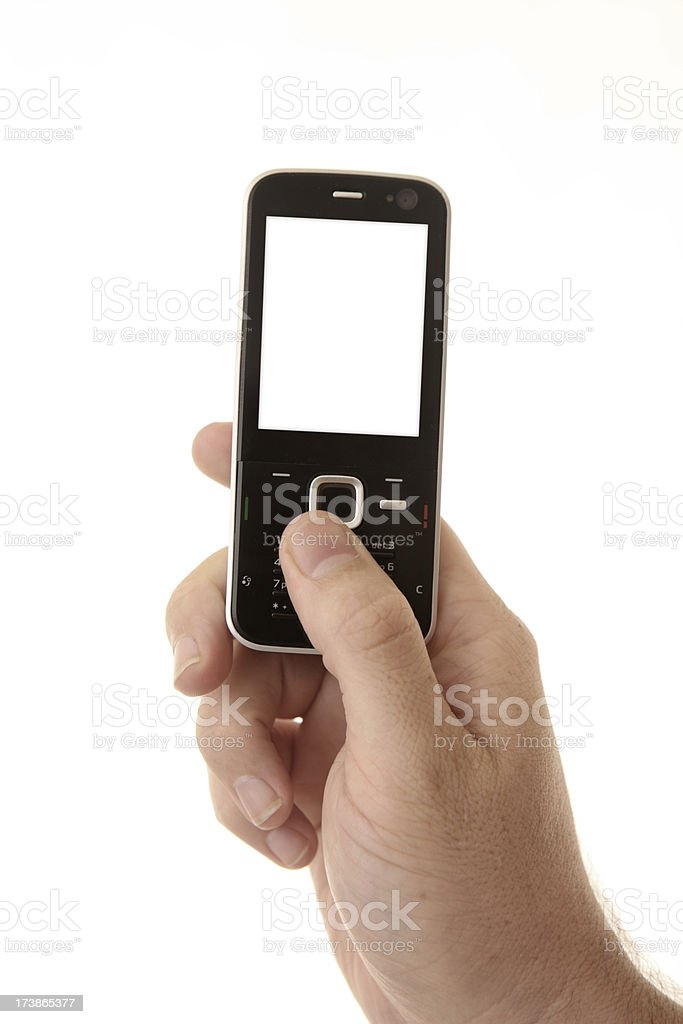 Mobile Phone In Hand on White royalty-free stock photo