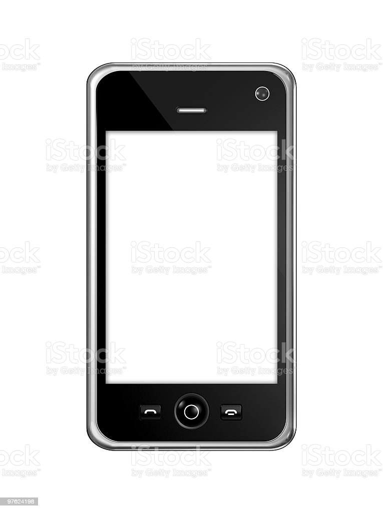 Mobile phone isolated on a white background royalty-free stock photo