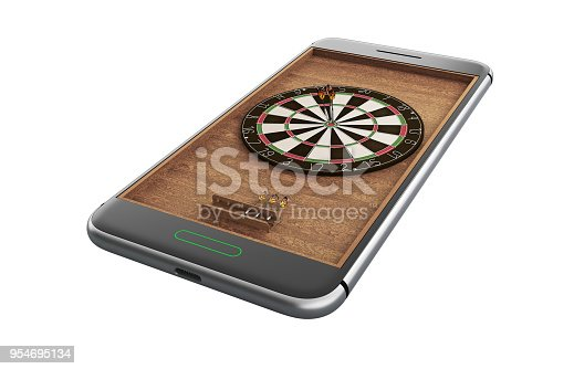 istock Mobile phone isolated screen darts game concept 3d illustration 954695134