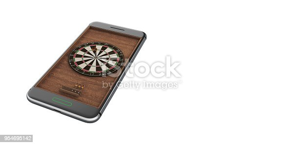 istock Mobile phone isolated screen darts game concept 3d illustration 954695142