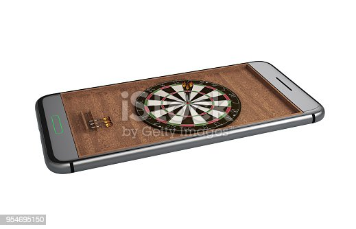 istock Mobile phone isolated screen darts game concept 3d illustration 954695150