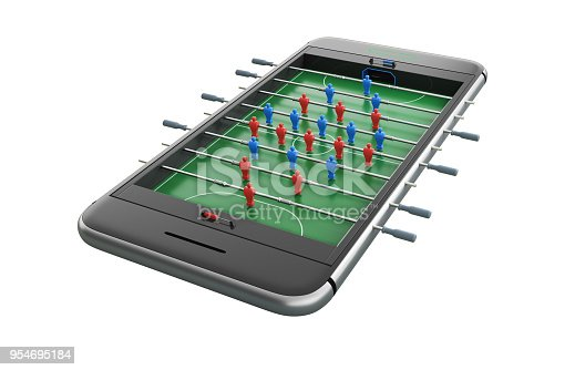 istock Mobile phone isolated screen football game concept 3d illustration 954695184