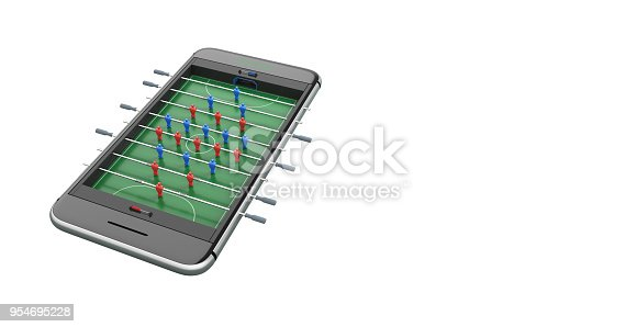 istock Mobile phone isolated screen football game concept 3d illustration 954695228